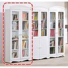 【森可家居】瑪莎2.7尺雙門書櫃 8HY488-02 英法式鄉村風 白色 玻璃書櫥 展示櫃 台灣製