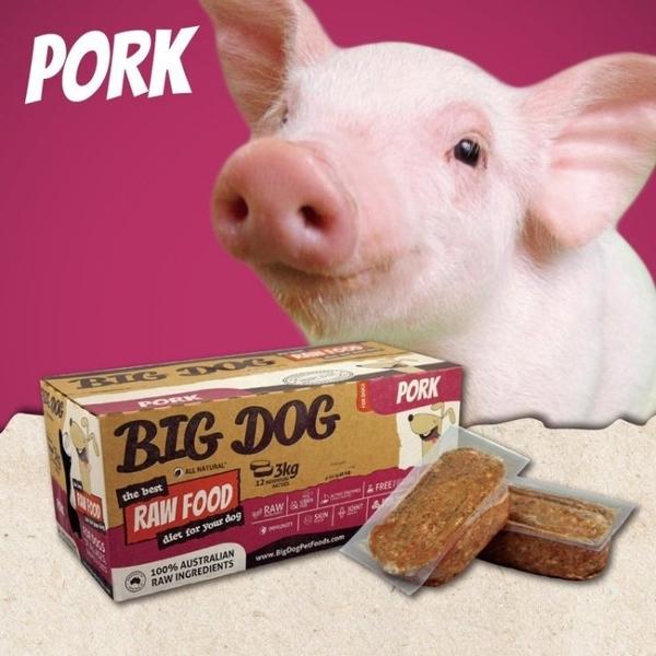『寵喵樂旗艦店』【免運】(1盒12片入)澳洲BIG DOG(BARF)巴夫《犬用生食肉餅-豬肉口味》