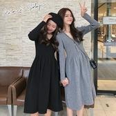 孕婦裝 MIMI別走【P52798】顯瘦V領 復古收腰針織連衣裙 孕婦洋裝 連衣裙