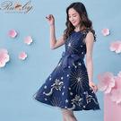 洋裝 刺繡星星月亮星座無袖洋裝-深藍色-...