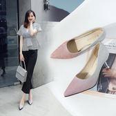 高跟鞋尖頭淺口細跟單鞋中跟性感亮片銀色新娘婚鞋 優樂居