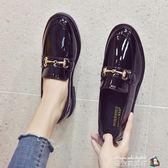 英倫風小 鞋女鞋子夏季新款 潮鞋百搭黑色豆豆平底單鞋女秋款  魔方數碼館