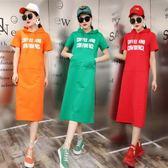 中長款連衣裙過膝連帽夏裝新款18韓字母學生寬鬆大碼短袖T恤裙女