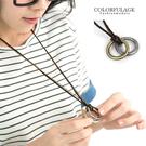多層雙鍊金屬加麻繩長項鍊 雙環設計古銅上色 中性韓系風格【NB328】
