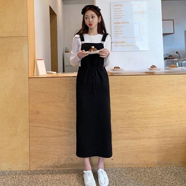 韓國製.百搭簡約口袋鬆緊收腰後開岔長版吊帶長裙.白鳥麗子