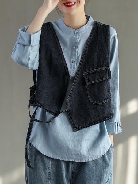 牛仔馬甲 花概念文藝設計感小眾V領襯衫牛仔馬甲女新款寬鬆洋氣馬夾背心潮 美物