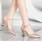 2021夏季新款潮足包頭涼鞋女夏粗跟高跟鞋水鑽中跟夏天女鞋