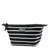美國正品 KATE SPADE 黑白條紋厚尼龍拉鍊船型化妝包【現貨】