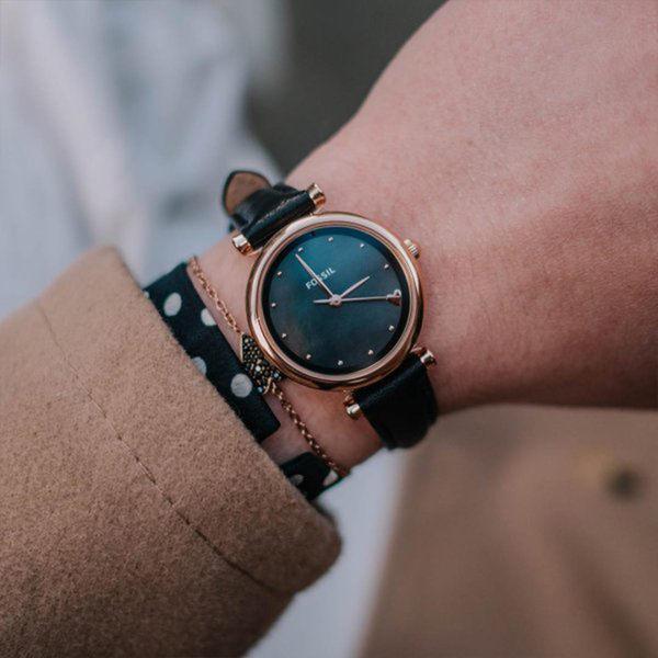 FOSSIL Carlie Mini 黑色愛心迷你皮革手錶 女ES4504