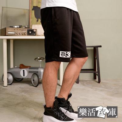 短褲★韓系潮流METH膠印棉質短褲(黑色)● 樂活衣庫【12600】