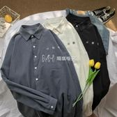 韓版寬鬆白襯衫男士長袖港風襯衣簡約潮流外套學生bf風情侶上衣服  瑪奇哈朵