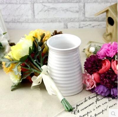 陶瓷花瓶白色家居電視櫃插花裝飾客廳擺件Dhh481【潘小丫女鞋】