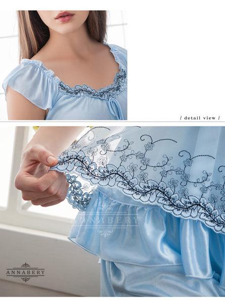 大尺碼 Annabery粉藍刺繡小蓋袖上衣短褲組  (OS小舖)