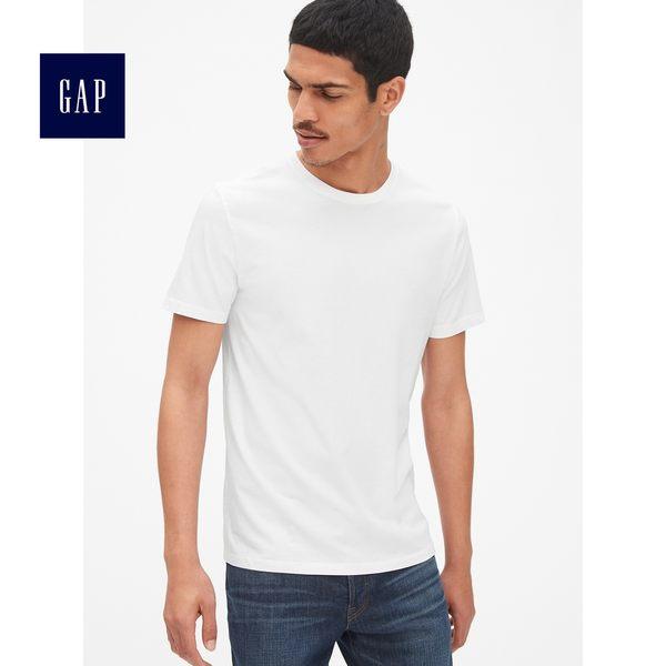 Gap男裝 簡約純色圓領短袖T恤 440775-白色