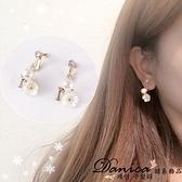 無耳洞耳環 現貨 韓國熱賣氣質甜美浪漫 花朵 珍珠 水鑽 夾式耳環 S91576  Danica 韓系飾品