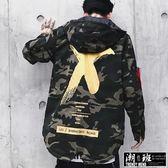 『潮段班』【HJ00K019】秋冬潮流漆刷圖案印花夾克外套風衣連帽迷彩休閒夾克外套