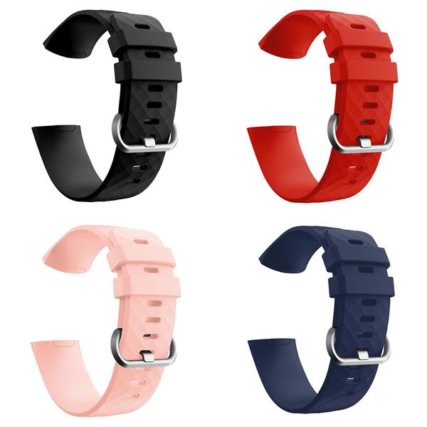 Fitbit Charge3 矽膠腕帶 3D鑽石紋 防水 純色 手錶錶帶 智能手環 替換帶 腕帶 運動錶帶