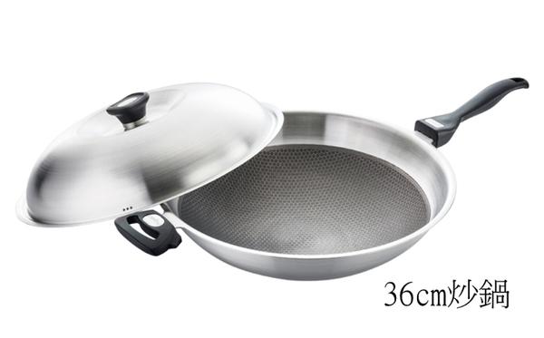 米雅可316不鏽鋼網紋不沾炒鍋36cm 厚2.5mm  (附贈單柄/雙耳可替換手把)台灣製
