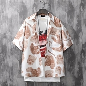 花襯衫2021夏季新款夏威夷襯衫男潮小熊印花港風潮牌短袖襯衣情侶裝半袖【3C] 榮耀 上新
