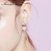 愛心形水鑚耳環女百搭簡約耳釘氣質韓國短發耳飾品 黛尼時尚精品