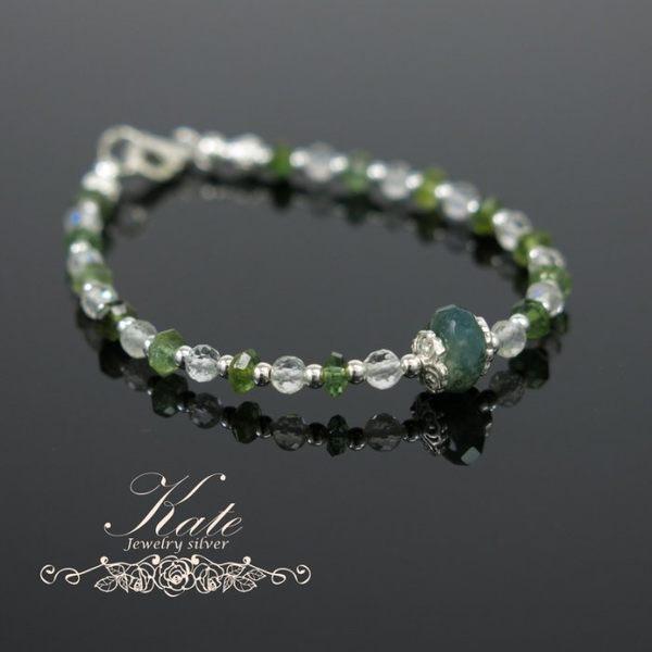 銀飾純銀手鍊 天然綠碧璽綠藻石水晶 手作款 925純銀寶石手鍊 KATE 銀飾