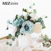 玫瑰仿真花插花套裝北歐客廳餐桌裝飾花藝絹花假花盆栽擺件QM   JSY時尚屋