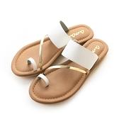 amai極簡斜金屬軟皮革指環夾腳拖鞋 白