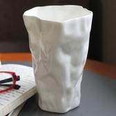 彩繪咖啡杯-純白立體個性不規則骨瓷馬克杯72ax29【時尚巴黎】