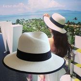 M禮帽女太陽沙灘遮陽防曬白色草帽