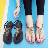 夏季韓國新款時尚百搭羅馬涼鞋女平底夾腳涼拖外穿防滑學生沙灘鞋【東京衣秀】