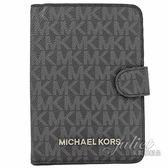 茱麗葉精品 全新精品 MICHAEL KORS Jet Set 滿版小LOGO PVC護照夾.黑