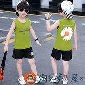 兒童背心短褲兩件套夏季夏裝純棉薄款童裝【淘夢屋】