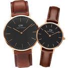 DW 黑面情人對錶 DW00100124_DW00100225 玫瑰金框 皮革錶帶 熱賣中!