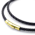 《 QBOX 》FASHION 飾品【L10021622G】精緻個性黑色編織真皮革鈦鋼項鍊子/黑皮繩(金色扣頭)