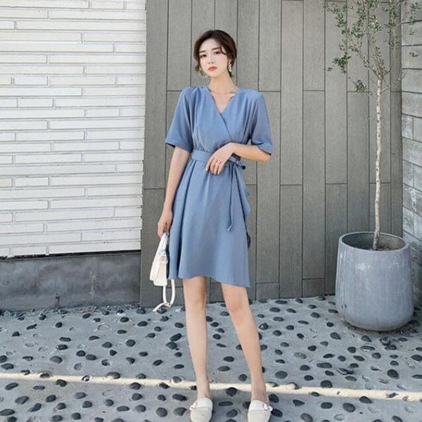 洋裝 韓系復古法式V領高腰顯瘦收腰不規則短袖連身裙 花漾小姐【現+預購】