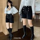 (現貨+預購 FUWAFUWA)-- 加大尺碼高腰雙排扣毛呢短褲