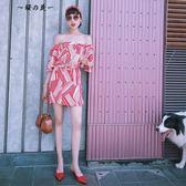 COLLIN 紅白紋雪紡性感復古抹胸一字肩連身裙女夏顯瘦配頭巾腰帶【櫻花本鋪】