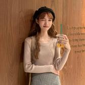 秋季新款韓版純色基礎款打底衫網紅百搭修身圓領長袖針織衫女  喵喵物語