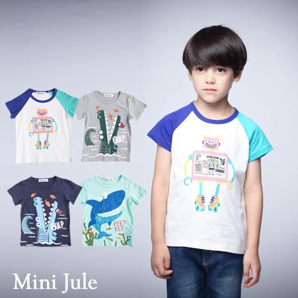 童裝 上衣 溜冰機器人雙色袖/鱷魚/海底鯊魚印花短袖T恤(共4款)