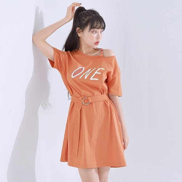 連身裙 字母印花繫帶短袖洋裝RW8587-創翊韓都現貨