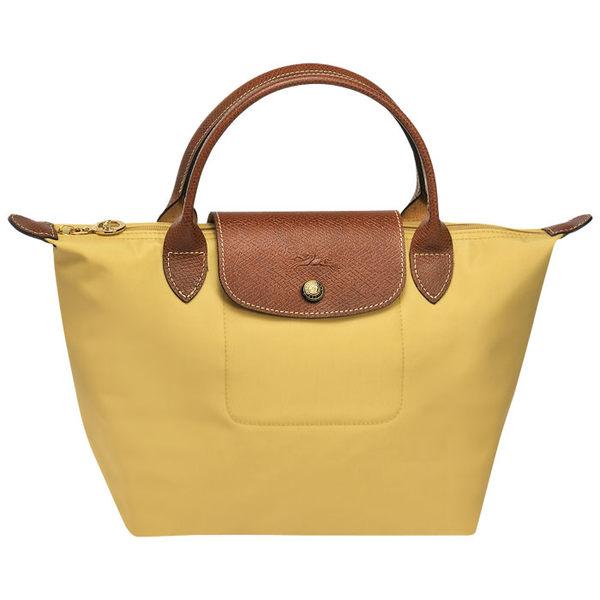 Longchamp摺疊水餃包 短帶 S (咖哩黃色)手提袋(小款)