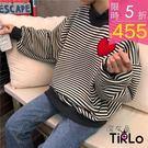 長T -Tirlo-小高領刺繡愛心條紋衛衣-兩色(現+追加預計5-7工作天出貨)