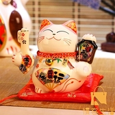 4寸 招財貓小擺件 迷你號創意陶瓷儲蓄罐家居店鋪開業禮品【慢客生活】