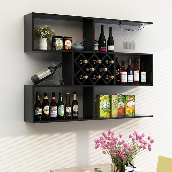 懸挂式酒架 酒櫃 牆上置物架 餐廳吧台實木簡約壁挂紅酒櫃 牆壁裝飾架 買就送2個酒杯架