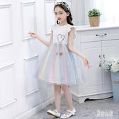 女童禮服 A字裙夏季禮服洋裝兒童公主裙短袖紗連身裙 QX12154 『男神港灣』