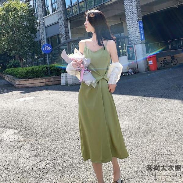 法式設計感小眾雪紡綠色氣質吊帶連身裙女裝夏裝春款洋裝【時尚大衣櫥】