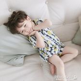 兒童睡衣 寶寶睡衣套裝空調房兒童家居服男小童棉綢薄款兩件套 傾城小鋪