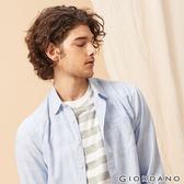 GIORDANO 男裝棉麻長袖襯衫-08 藍/白條紋