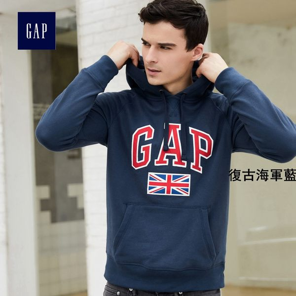 Gap男裝 logo旗幟印花連帽長袖休閒上衣 523683-復古海軍藍