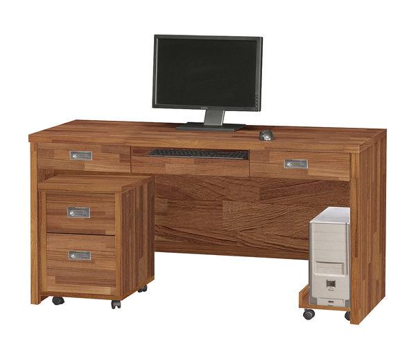 【森可家居】肯傑柚木色5尺電腦桌 (全組) 7ZX646-2辦公工作桌 木紋質感 MIT台灣製造